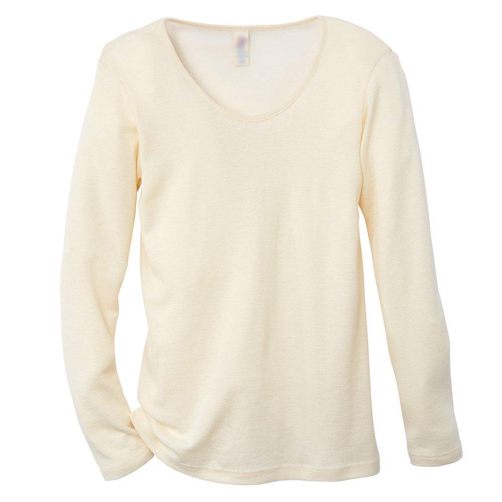 EcoAble Apparel Women's Thermal Shirt for Layering, 70% Organic Merino Wool 30% Silk (38-40 / Small, Cream)