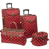 American Flyer Fleur de Lis 4-Piece Luggage Set – Red Fleur de Lis, Bags Central