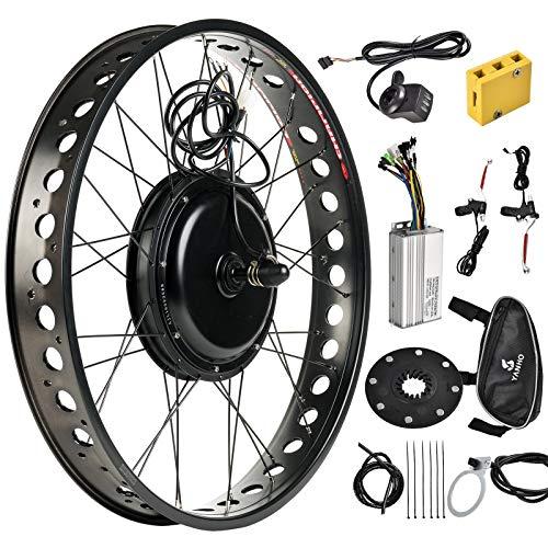 Murtisol Electric E-Bike Motor Kit 26'' /20'' Fat Tire Front Wheel/Rear Wheel 48V 1000W Bicycle Motor Conversion Kit (26'' Rear Wheel)