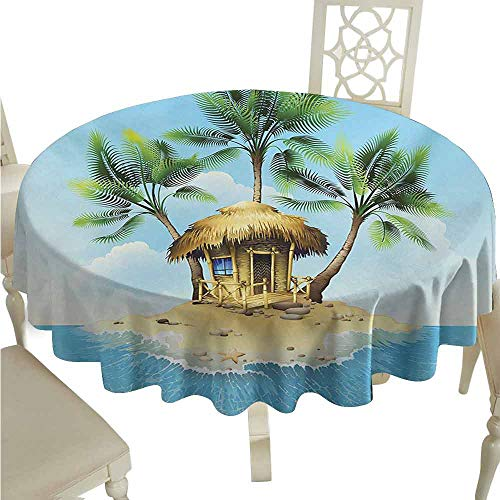 (duommhome Tropical Spill-Proof Tablecloth Tropical Wooden Bungalow Three Palm Trees in a Small Island Cartoon Artwork Easy Care D51 Aqua Green)