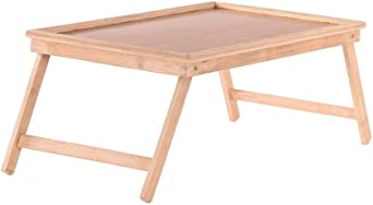 Natural Color Ecurson Bamboo Tray,Modern Simple Multifunctional Folding Portable Table Bed Tray with Foot,for Bedroom,Rectangular 50x30x22cm