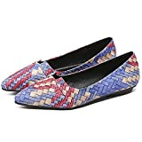 QZUnique Assorted Female Pointed Toe Host with Interlaced Color Cuts Flat Shoes