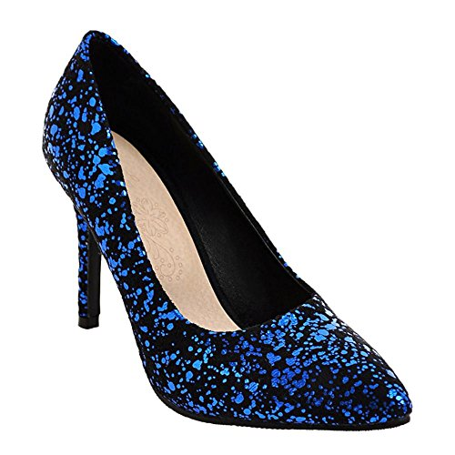 Charm Foot Womens Sexy Pointed Toe High Heel Pumps Shoes Blue