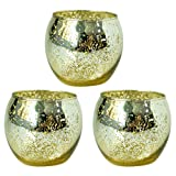 Hosley Set of 3 Gold Glass Tea Light Holders - 3.35'' Diameter. Ideal Gift or Use for Weddings, Special Occasions, Votive Candle Gardens, Spa, Aromatherapy, Restaurants W1