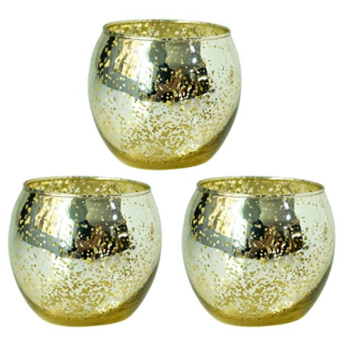 Hosley Set of 3 Gold Glass Tea Light Holders - 3.35