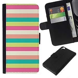 A-type (Sunny Beach Pattern Pastel Teal) Colorida Impresión Funda Cuero Monedero Caja Bolsa Cubierta Caja Piel Card Slots Para HTC Desire 820