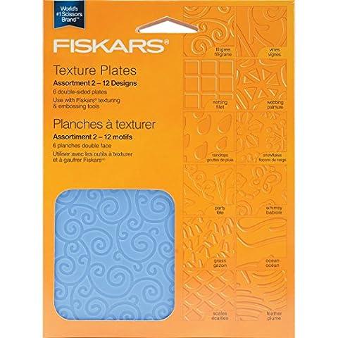 Fiskars Texture Plate Double Sided Assortment II 6/Pkg 12 Designs 5659 - Fiskars Goffratura Piastre