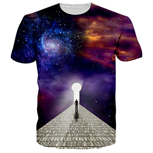 RAISEVERN Unisex 3D Galaxy Space Creative Thinker Printed Hip Hop Style T-Shirts Tees M