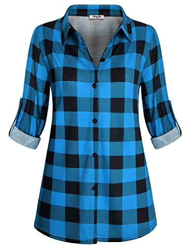 Hibelle Work Shirts for Women Office Juniors Check Button Front Tops Fashion V Neck Tunic Dressy Long Sleeve Jersey Tartan Clothes Buffalo Retro Geometric Print Blouses Dark Blue Plaid (Geometric Print Jersey)