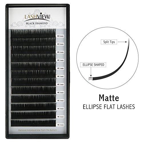 LASHVIEW Mink SUPER MATTE Flat Mink Black Ellipse Eyelash Extensions 0.15mm D Curl 11mm Semi-permanent Individual Extremely Soft Application-friendly Lashes for Professional Salon Use