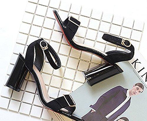 Rond Bout Mode Femme Sandales Talon Ouvert Lanière Noir Aisun qYwEORf