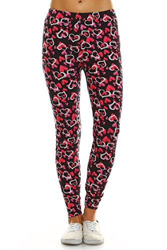 Leggings Mania Womens Heart Print High Waist Leggings Black Pink