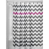 InterDesign Chevron Shower Curtain, 72x72-Inch, Gray and Orchid