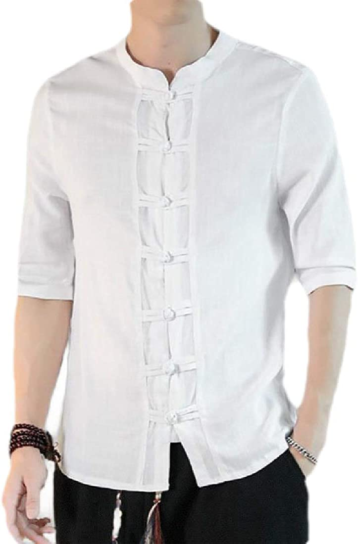 SELX Men Button Down Classic 3//4 Sleeve Stand Collar Chinese Style Shirts