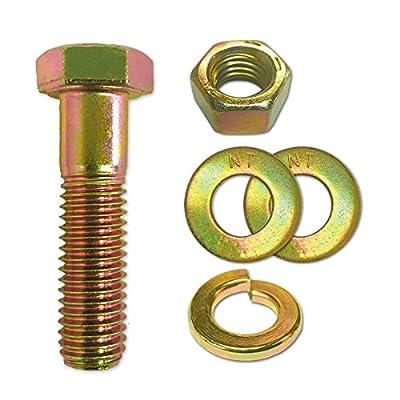 """(20 Sets) 1/4-20x1-1/4"""" Grade 8 Hex Cap Bolts Screws, Nuts, Flat & Lock Washers Yellow"""