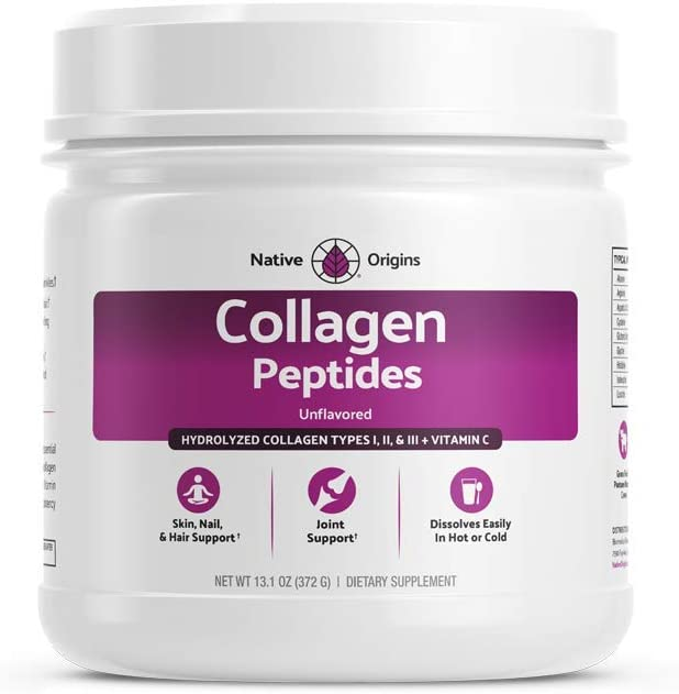 Native Origins Collagen Peptides Powder - Hydrolyzed Type I, II, III + Vitamin C Unflavored Non-GMO Grass-Fed Supplement Blend for Joints, Skin, Hair, Nails and Anti-Aging (12.4g)