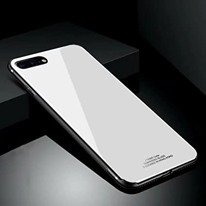 timeless design 369f1 81c79 Hard Rigid Tempered Glass Back Cover for iPhone 7 Plus/8 Plus, Aearl Pure  Color Crystal Clear Rear Back Glass Plastic Interior Anti Slip TPU Silicone  ...