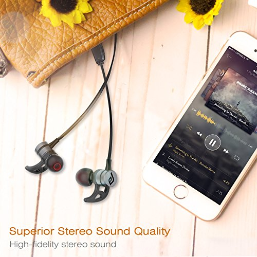 Bluetooth Headphones, Parasom A1 Magnetic, V4.1 Wireless Stereo Bluetooth Earphones Sport Headset In-Ear Noise Isolation Headphone Earbuds for Gym Running -Sweatproof, Microphone (Black)