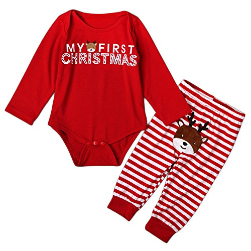 MIOIM Baby Girls Boys My First Christmas Rompers Tops Long Pants Outfits Set