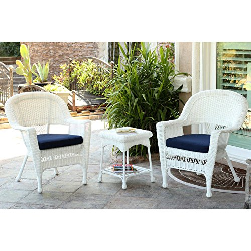 Jeco 3 Piece Wicker Conversation Set in White with Blue Cushions