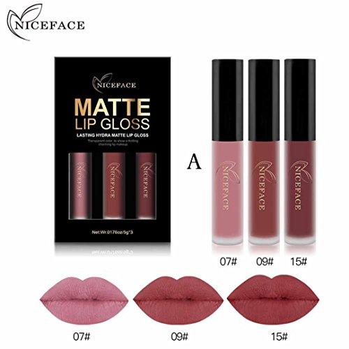 3PCS/Set New Fashion Waterproof Matte Liquid Lipstick Cosmetic Sexy Lip Gloss Kit WensLTD (E)