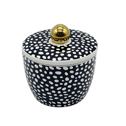 Sagebrook Home 12143-03 Decorative Ceramic Canister, Black/White Ceramic, 4.5 x 4.5 x 4.5 Inches
