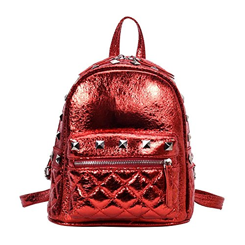 PU Shoulder Rivets Mini Glitter Leather Women Girls Everpert Backpacks Bags Red Street xqwTEg