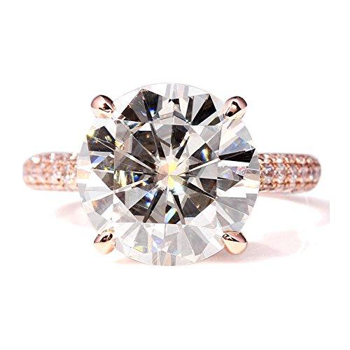 Transgems 1.9 Carat Round Brilliant Cutting Moissanite with True Diamond both sides 14k White Gold Ring