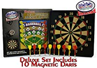 "Deluxe 2-in-1 Reversible Magnetic Dartboard (Dart Board) with 10 Darts, Featuring Standard Darts & Baseball Games - ""Matty's Toy Stop"" Exclusive"
