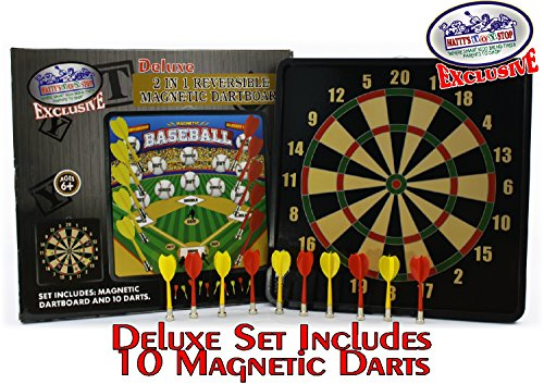 Magnetic 2 Darts - Matty's Toy Stop Deluxe 2-in-1 Reversible Magnetic Dartboard (Dart Board) with 10 Darts, Featuring Standard Darts & Baseball Games Exclusive
