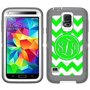 Monogram Otterbox Defender Chevron Green and White Samsung Galaxy S5 Case