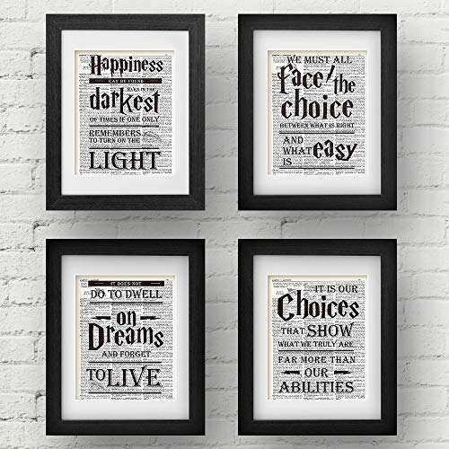 Harry Potter Quotes - akeke Harry Potter Quotes & Sayings Vintage Dictionary Art Prints - Set of 4-8