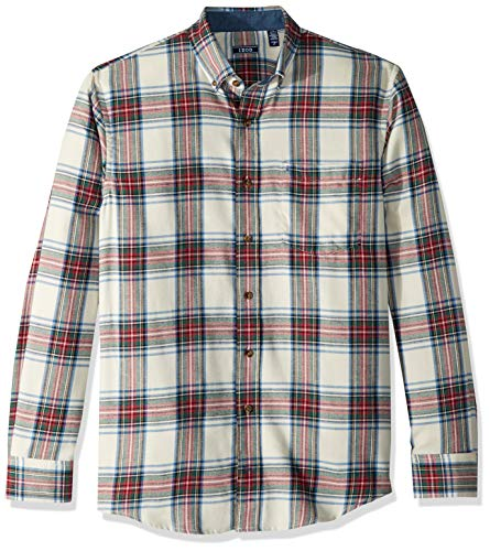 (IZOD Men's Big and Tall Stratton Long Sleeve Button Down Plaid Flannel Shirt, Vanilla, 3X-Large)
