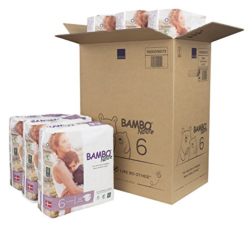 Bambo Nature Eco Friendly Premium Baby Diapers for Sensitive Skin, Size 6 (35-66 lbs), 132 Count (6 Packs of 22)