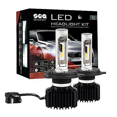 H4 LED Headlight Bulbs Conversion Kit SEALIGHT X1 series H4 9003 HB2 Headlight Bulb Dual Hi/Lo Beam Bulbs - Extremely Bright 24xCSP LED Headlight Chips-80W 10000LM 6000K Xenon (Headlight For A 2002 Honda Civic)