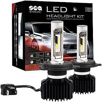 SEALIGHT H4/9003/HB2 LED Headlight Bulbs Conversion Kit, Dual High/Low Beam -Xenon White 6000K, 2 Yr Warranty