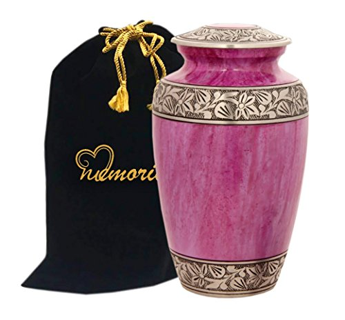 (MEMORIALS 4U Lotus Pink Cremation Urn with Pewter Band - Pink Urn - Handcrafted Adult Funeral Urn - Affordable Urn for Ashes - Large Urn Deal.)