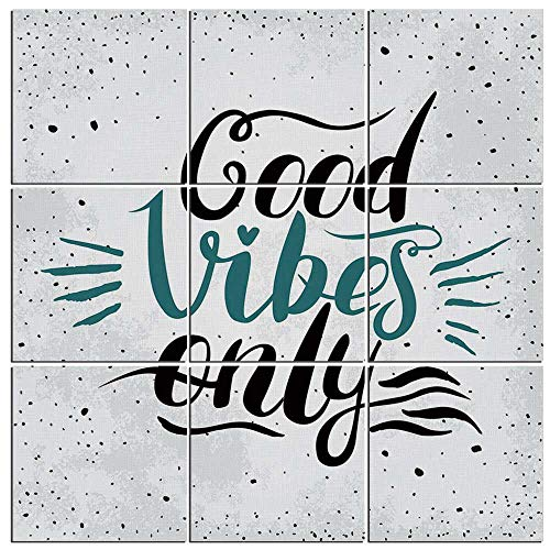 - iPrint 9 Pieces Good Vibes Canvas Wall Art,Stylized Hand Letters Calligraphy Dots Wavy Lines and Little Heart Modern,60