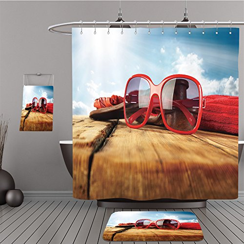 Uhoo Bathroom Suits & Shower Curtains Floor Mats And Bath Towels 188978045 red sunglasses For - Sunglasses Fallout 4