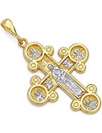 14k Two 2 Tone White and Yellow Gold Four-Way Cross Religious Pendant (Size : 36 x 22 mm)