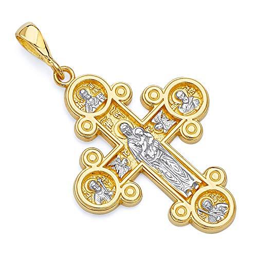 14k Two Tone Gold Four-Way Cross Religious Pendant (Size : 36 x 22 mm)