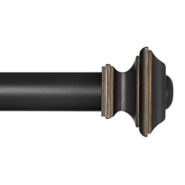 Ivilon Window Treatment Curtain Rod - Square Finials, 1 1/8 in Rod, 72 to 144 Inch, Antique Black