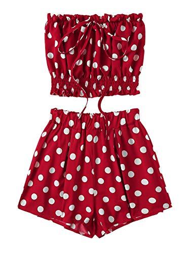 SweatyRocks Women's Boho Bandeau Tube Crop Top with Shorts Set 2 Piece Outfits Burgundy L ()