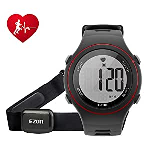 Digital Watch Heart Rate Monitor with Strap Alarm Chronograph for Men and Women Red T037A11
