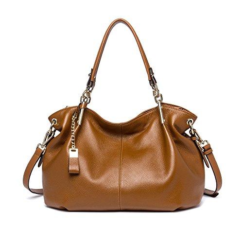 (BOSTANTEN Leather Handbags Tote Purses Shoulder Crossbody Bags for Women Coffee)
