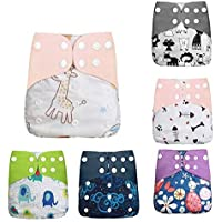 Benkeg Baby Cloth Diapers Pack of 6 Adjustable Washable Resuable 2-Layer Design Strong Absorbtion Soft Diaper Pads Cover…