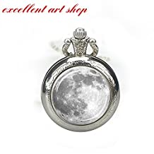 FULL MOON POCKET WATCH NECKLACE White Gray Full Moon Necklace Watch Pendant Lunar Watch Necklace Planet Watch Jewelry Astronomy Watch Pendant Science Pocket Watch Jewelry Astronomer Gift