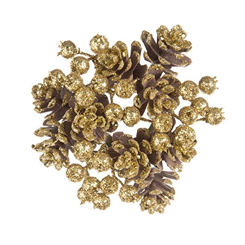 (Christmas Candle Rings with Pinecones Glitter Gold 4 Inches (2 Pack))