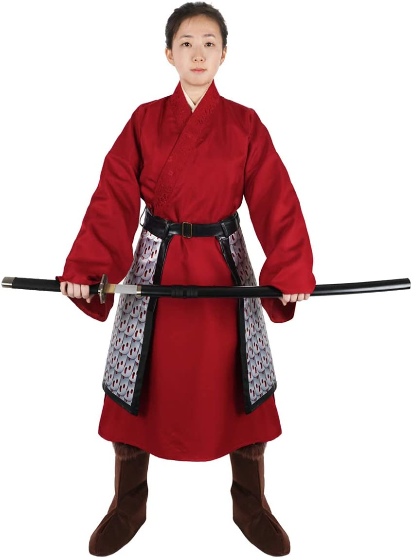 CoolChange Disfraz de Mulan, Vestido Tradicional Chino, Hanfu Rojo, Talla: S