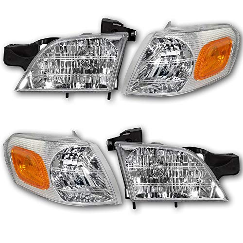 JSBOYATHeadlight Assembly Replacement for 97-05 Chevy Venture / 99-05 Pontiac Montana / 97-98 Trans Sport / 97-04 Oldsmobile Silhouette/Headlamp & Signal Marker Lamp Driver and Passenger Side